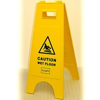 CAUTION WET FLOOR - Warning Sign - Yellow - Tough Plastic A-Frame