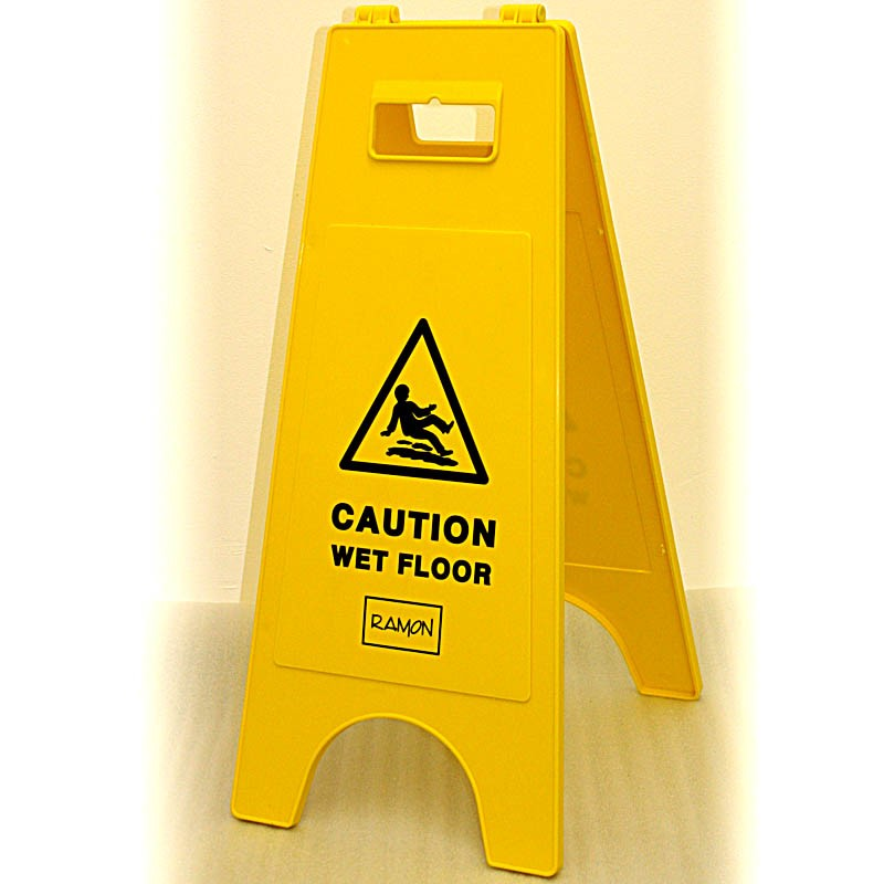 Caution Wet Floor Warning Sign Yellow Tough Plastic