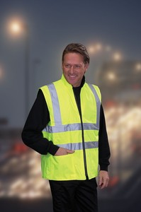 Hi-Visibility Reversible Fleece Vest - Yellow Bodywarmer with 4 Pockets - BS EN471 Class 2
