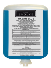 Evans Vanodine Evolve Ocean Blue Hand, Body Wash and Hair Shampoo Cartridge Pack 1ltr - Case of 6