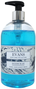 Evans Vanodine Ocean Blue - Hand Soap, Bodywash and Hair Shampoo - 500ml Hand Pump