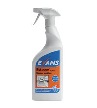 Evans Vanodine Est-eem - Unperfumed Cleaner and Sanitiser EN 1276 - 750ml RTU trigger