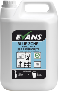 Evans Vanodine Blue Zone Concentrated Hard Surface Cleaner Bulk Refill 5ltr