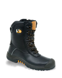 V-Tech Leopard Black High Leg Zip Sided Safety Boot - Available In Sizes 5-13