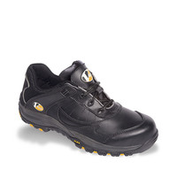 Vtech Slam Trainer S1P - Leather Safety Footwear with Sports Sole & Wide Comfort Fit - Black