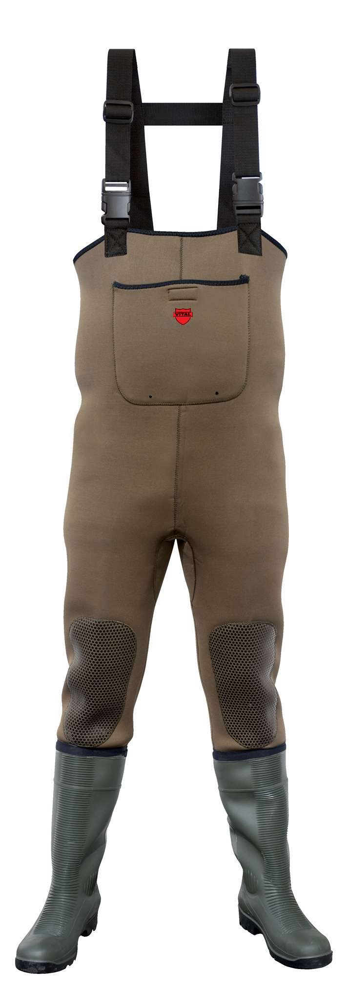 Vital severn green safety neoprene chest wader available in sizes 6