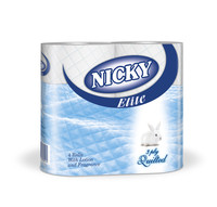 Nicky Elite 3ply Blue Conventional Toilet Rolls - Case of 40