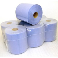 Centre Feed Towel Roll - Industrial 2 Ply Hand & Wipe Tissue Paper - Blue - 195mm x 400mm x 150m (375 sheets) - Pack of 6
