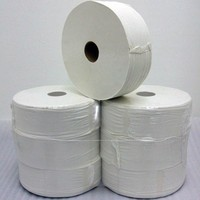 Maxi Jumbo Toilet Roll - Industrial 2 Ply Tissue Paper - White - 95mm x 200mm x 300m - Pack of 6