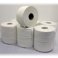 Mini Jumbo Toilet Roll - Industrial 2 Ply Tissue Paper - White - 95mm x 200mm x 150m - Pack of 12