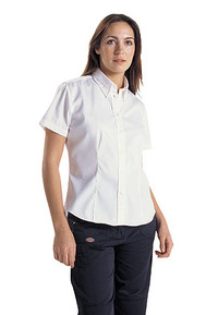 Dickies Ladies Fitted Oxford Shirt - Short Sleeve - Cotton - Light Blue or White