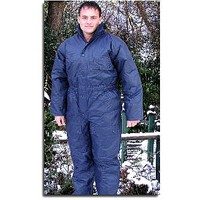 Thermal Boilersuit - Navy Coverall with Zipped Legs & Drawstring Hood - Tough Nylon Outer - Warm Lining