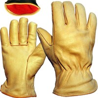 Drivers Glove - Felt Lined - Quality Leather - Elasticated Back - One Size